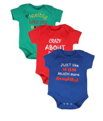Goodway Infants Body Suit Mom and Dad Printed Tshirts - Pack of 3