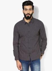 Navy Blue Printed Regular Fit Casual Shirt