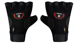 Sports 101 X-Power Leather Fitness Gloves, Free Size (Black)