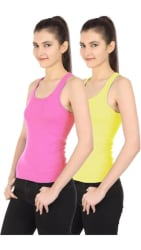 Friskers Pink Green Spaghetti,Camisole & Tank Top pack of 2