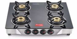 Prestige Deluxe Glass, Stainless Steel Manual Gas Stove 4 Burners