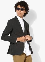 Black Printed Regular Fit Blazer