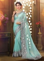 Aqua Blue Embellished Saree