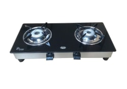Padmini Two Burner Gas Glass Top CS 2GT Nano, black