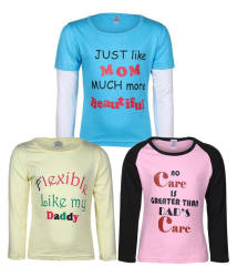 Goodway Junior Girls M&D -4 - Pink,Lemon,Turq Combo Pack of 3 T-Shirts For Girls