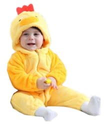 KIDSLOUNGE UNISEX BABY Kidslounge New Fashion Spring Autumn Baby Clothes Flannel Catoon Animal Jumpsuit - chick ROMPER