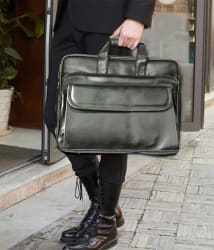 Home Story Black P.U.Leather Office Laptop Bag- 15.6 Inch