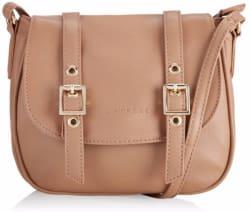 Women Casual Beige Leatherette Sling Bag