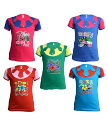 Eazy Trendz Beautiful Girls Self Design T Shirts Pack of 5