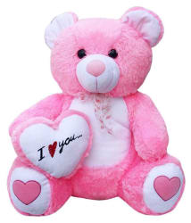 GVMC Toys Soft Pink Teddy Bear with (I Love You) Heart - 65 cm