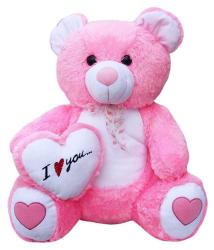 GVMC Toys Soft Pink Teddy Bear with (I Love You) Heart - 65 cm