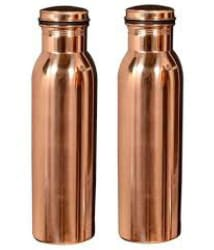 Swastik Associates Copper Water Bottle 1000 ml (Set of 2)