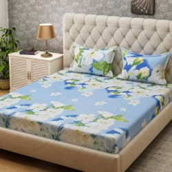 Bombay Dyeing 160 TC Microfiber Double Floral Bedsheet Pack of 3, Blue