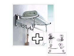 Fortune™ Premium Quality Stainless Steel Folding Towel Rack With Bathroom Accessories Set(24 Inch)