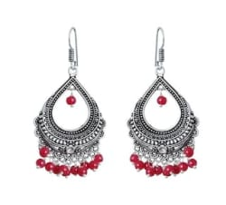 Zcarina Oxidised Silver with Red Pearls Earring set for Women and Girls (VV45_JHU-9562)