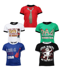 Gkidz Multicolour Cotton T Shirt for Boys - Pack of 5