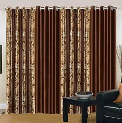 Export Hub Floral 4 Piece Eyelet Polyester Door Curtain Set - 7ft, Brown