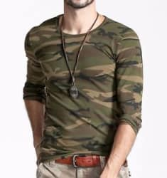 Camouflage t shirt for Mens Round Neck Full Sleeve Army Print Tshirt - 40% OFF