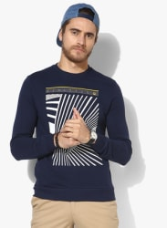 Navy Blue Printed Sweatshirt