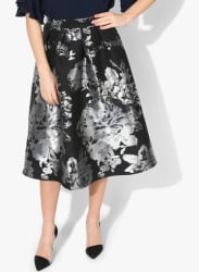 Black Printed Flared Skirt
