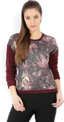 Casual Full Sleeve Printed Women s Maroon Top