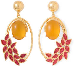 Voylla Artificial Classic Enamel Citrine Alloy Dangle Earring