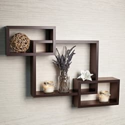 DriftingWood Wooden Intersecting Wall Shelves/Shelf for Living Room | Set of 3 (Design 7)