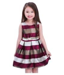 White button new designer maroon silk partywear Frock for girls