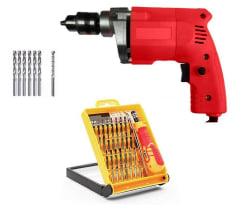 POWERFUL 10MM Drill Machine + 6 HSS Bits METAL + 1 Masonry Bit WALL + 32 in 1 Pcs Screwdriver Set