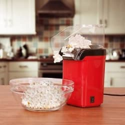 Quick & Easy Popcorn Maker - Red - One Key Operation - 1200W Power - Oil Free