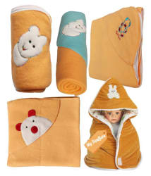 My Newborn Beige Fleece Baby Blanket ( 66 cm × 66 cm- 5 pcs)