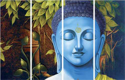 SAF BUDDHA PREMIUM LARGE 4 PANEL PAINTING Ink Painting (24 inch x 36 inch)