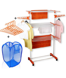 Kawachi Power Dryer Easy Mild Steel Cloth Drying Stand With Laundry Basket Bag & 6 pcs Hanger Combo