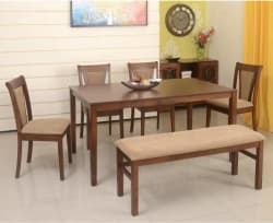 @home by Nilkamal Jewel Solid Wood 6 Seater Dining Set Finish Color - Walnut