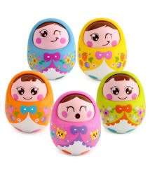 Baby Rattles Nodding Tumbler Doll Sweet Bell Music Roly-Poly Learning Education Toy (1 Pcs)