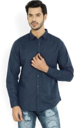 United Colors of Benetton Men Solid Casual Blue Shirt