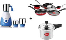 Pigeon COMBO PRESSURE COOKER,GRAND COOKWARE SET,AMAZE MIXER GRINDER Cookware Set (Aluminium, PTFE (Non-stick), Plastic, 8 - Piece)