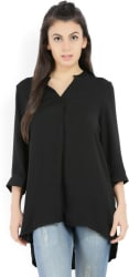 Vero Moda Casual 3/4th Sleeve Solid Women Black Top