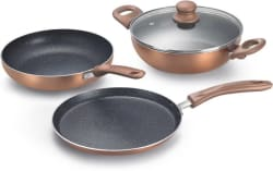 Prestige Omega Festival Pack - Build Your Kitchen Induction Bottom Cookware Set (Aluminium, 3 - Piece)