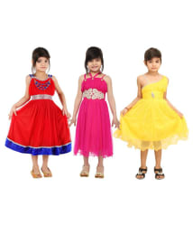 DELHIITE GIRL S PARTY DRESS MAXI FULL LENGTH PACK OF 3 SETS