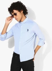 Light Blue Textured Slim Fit Casual Shirt