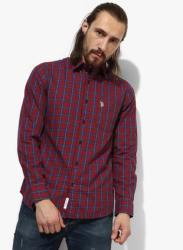 Maroon Checked Regular Fit Casual Shirt