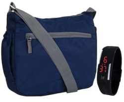 Favria Unisex Navy Sling Bag with Free wrist Band digital watch