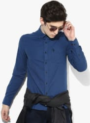 Blue Solid Straight Fit Casual Shirt
