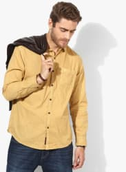 Mustard Yellow Textured Slim Fit Casual Shirt