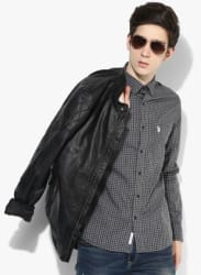 Grey Checked Slim Fit Casual Shirt
