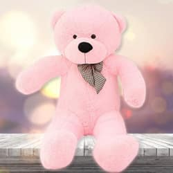 Soft Teddy Bear 5Ft Spongy Teddy Bear with Neck Bow Pink Baby Cute Toy
