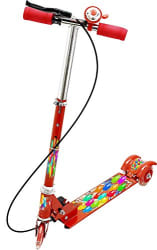 KAGVAD 3 Wheeler Scooter Ride Ons with Brake and Bell with Height Adjustable Foldable LED Lights on Wheel for Boys and Girls Cycle/Runner/Rider (RED)