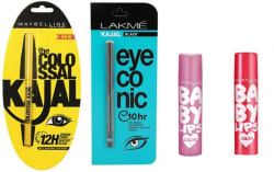 Maybelline The Colossal Kajal with eyeconic and cherry, pink baby lips (Set of 4)