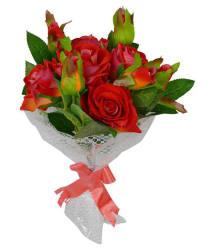 The Fancy Mart rose 5 bouquet Multicolour Artificial Flower Bunch Plastic